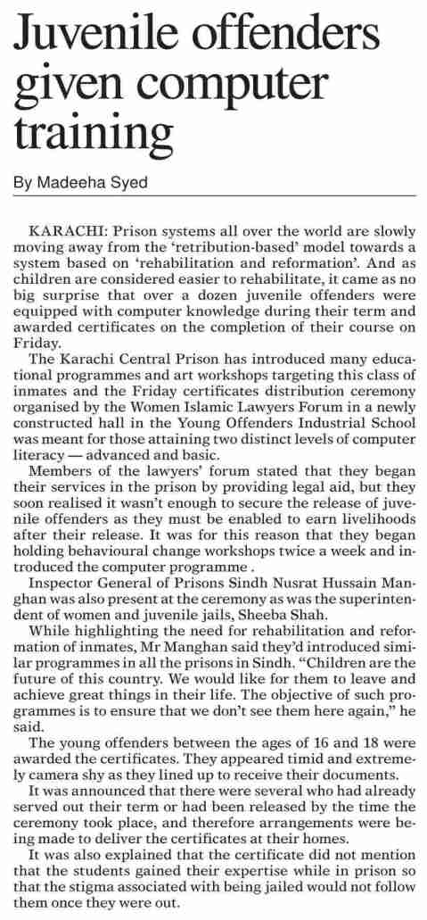 Juvenile Offenders computer training June7